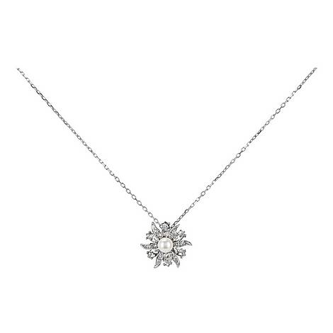 Crystal Flower Pearl Pendant Necklace, ${color}