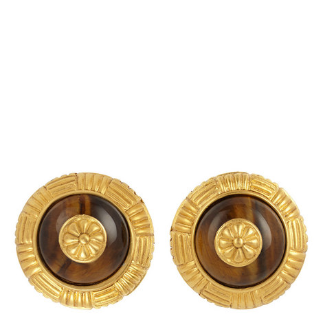 Tiger Eye Clip-On Earrings, ${color}