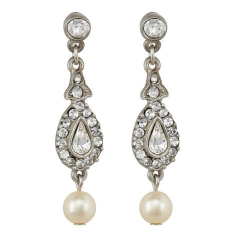 Crystal Pearl Drop Earrings, ${color}