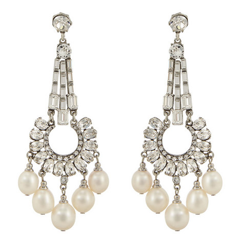 Chandelier Crystal Pearl Earrings, ${color}