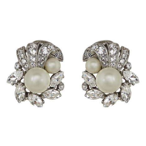 Pearl and Crystal Clip-On Earrings, ${color}