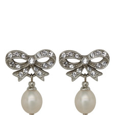 Crystal Bow Pearl Earrings
