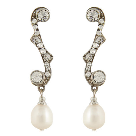 Crystal Pearl Drop Earrings, ${color}