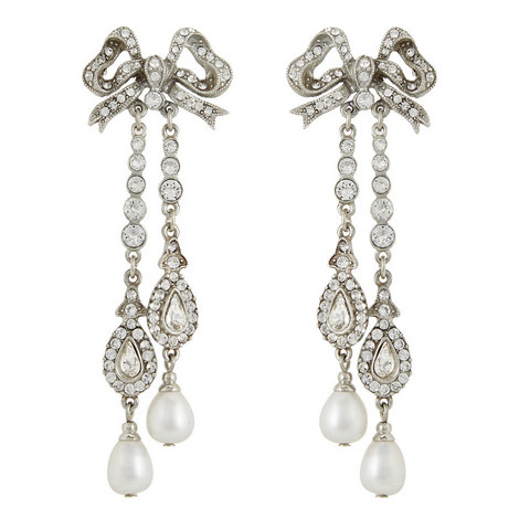 Crystal Bow Pearl Drop Earrings, ${color}