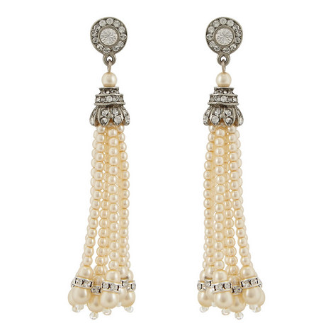 Pearl Tassel Earrings, ${color}