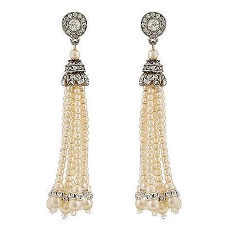 Pearl Tassel Earrings, ${color}