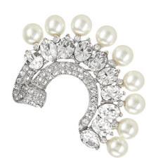 Pearl Crystal Half Moon Brooch