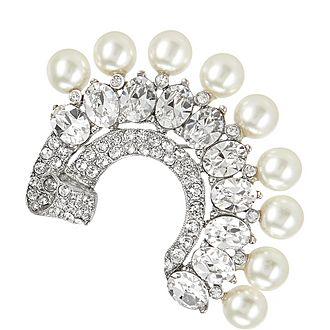 Pearl Crystal Half-Moon Brooch