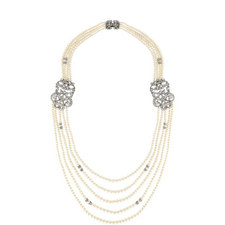 Five Row Pearl Crystal Necklace