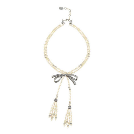 Two Row Pearl Bow Tassel Necklace, ${color}