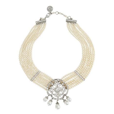 Seven Strand Floral Crystal Necklace, ${color}