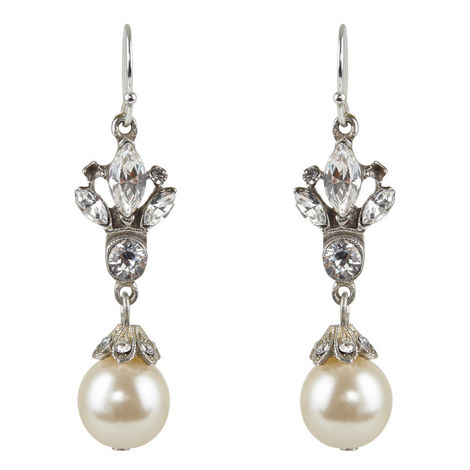Pearl Drop Hook Earrings, ${color}