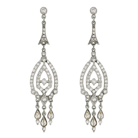 Crystal Pavé Drop Earrings, ${color}