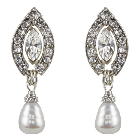 Oval Pearl Drop Earrings, ${color}