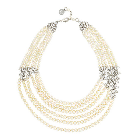 Six Row Crystal Fan Pearl Necklace, ${color}