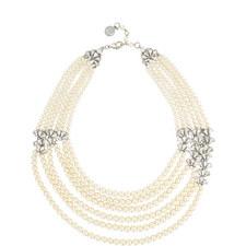 Six Row Crystal Fan Pearl Necklace