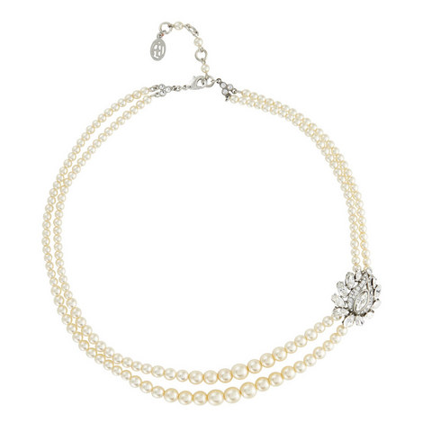 Floral Crystal Pearl Necklace, ${color}