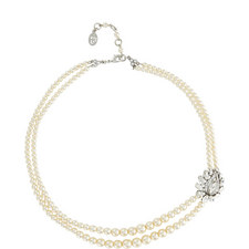 Floral Crystal Pearl Necklace