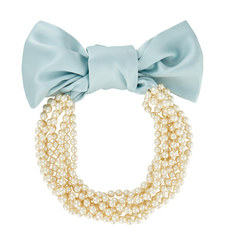 Silk Ribbon Pearl Necklace