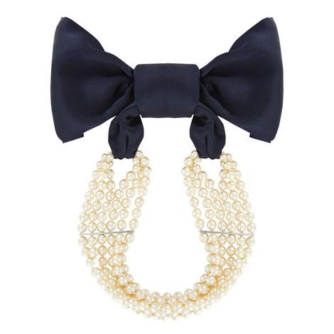 Silk Ribbon Pearl Necklace, ${color}
