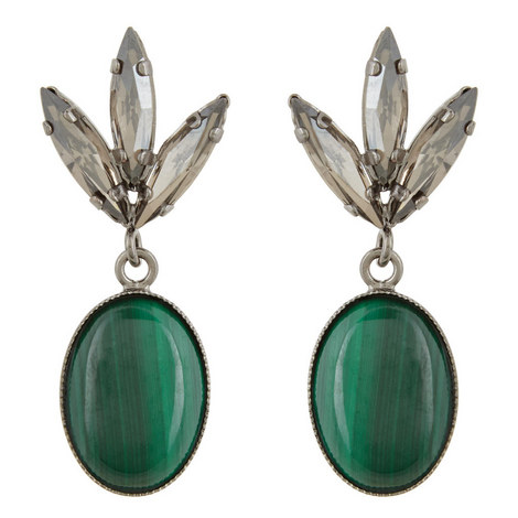 Malachite Stone Drop Earrings, ${color}