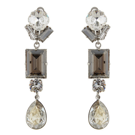 Crystal Drop Clip-On Earrings, ${color}