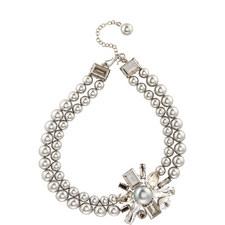 Diamond Double Pearl Necklace