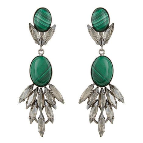 Long Drop Malachite Earrings, ${color}