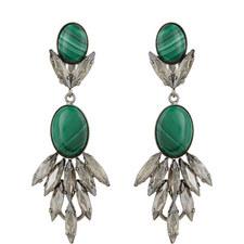 Long Drop Malachite Earrings