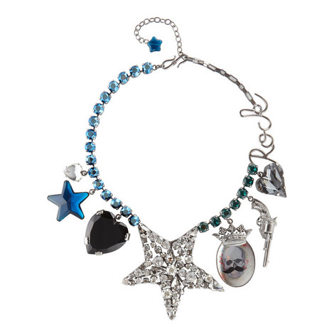 Crystal Star Charm Necklace, ${color}