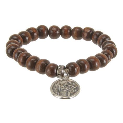 St. Christopher Locket Wood Bracelet, ${color}