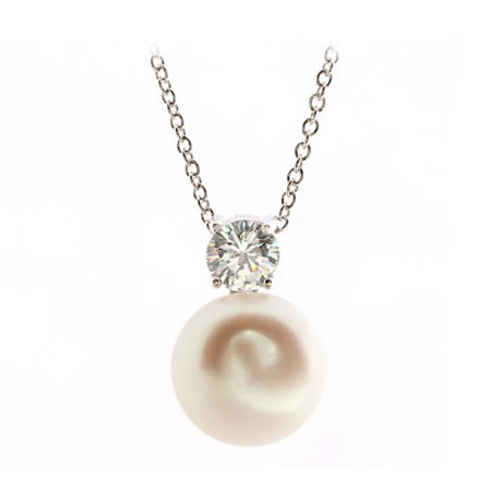 Diamond Pearl Pendant Necklace, ${color}
