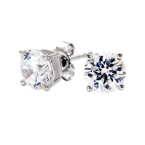 Classic Brillant Stud 2ct Earrings, ${color}