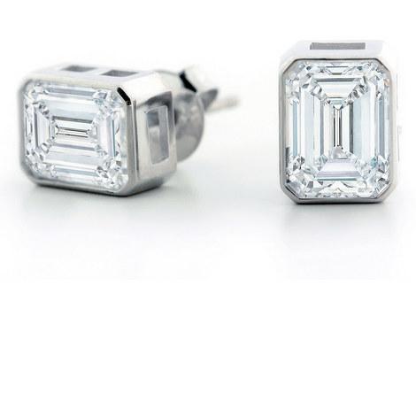 Bezel Emerald Trilogy Stud Earrings, ${color}