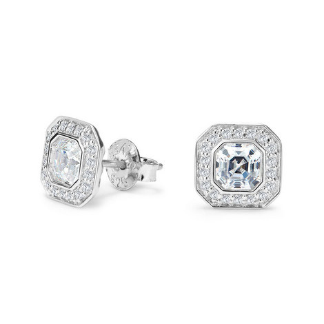Deco Asscher Stud Earrings, ${color}