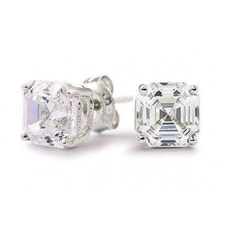 Asscher Stud Earrings, ${color}