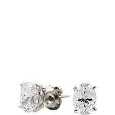 White Gold Oval Stud 2 CT. Earring