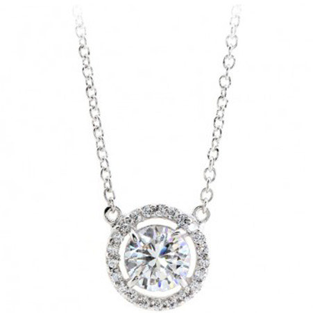 Hannah Halo Pendant Necklace, ${color}
