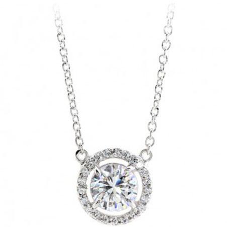 Hannah Halo Pendant Necklace, ${color}