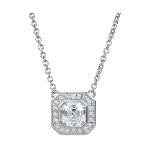 Deco Asscher Floating Necklace, ${color}