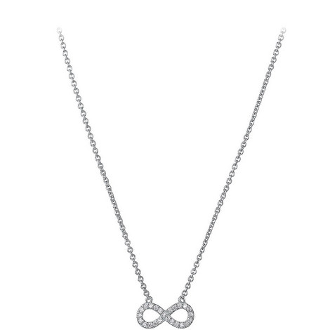 Sterling Silver Infinity Necklace, ${color}