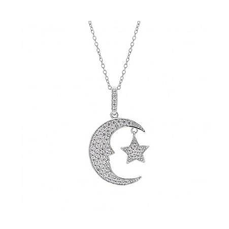 Moon and Star Pendant Necklace, ${color}