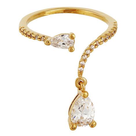 Crystal Tear Drop Ring, ${color}