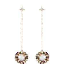 Pearl and Crystal Chain Drop Earrings
