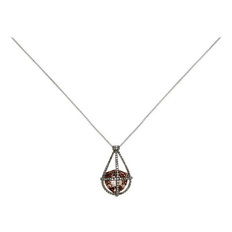 Caged Crystal Pendant Necklace, ${color}