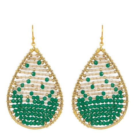 Beaded Teardrop Earrings, ${color}