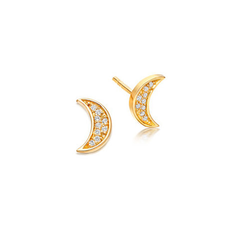 Biography Mini Moon Biography Stud Earrings, ${color}