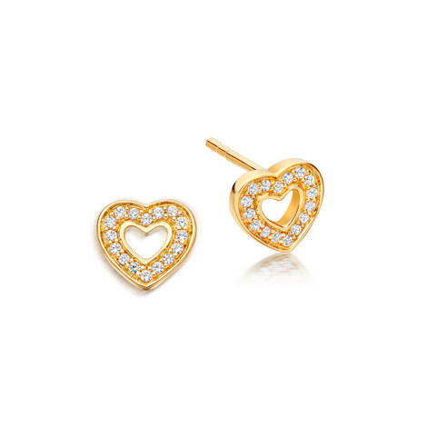 Biography Mini Heart Biography Stud Earrings, ${color}
