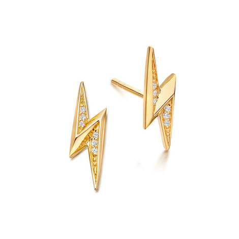 Biography Mini Lightning Bolt Biography Stud Earrings, ${color}