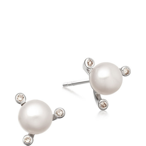 Pluto Pearl Gold Earrings, ${color}